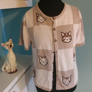 Crazy Kitty Cat Lady Short Sleeve Sweater M